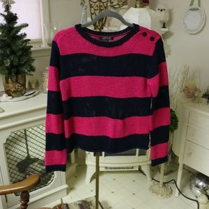 Pink and Black Striped Ralph Lauren Sweater
